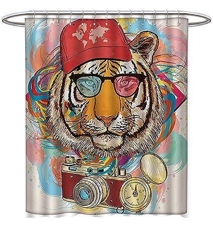 Starocle Animal Shower Curtain Customized Hipster Rapper Tiger Sunglasses Hat Camera Artist Hippie Comic Print