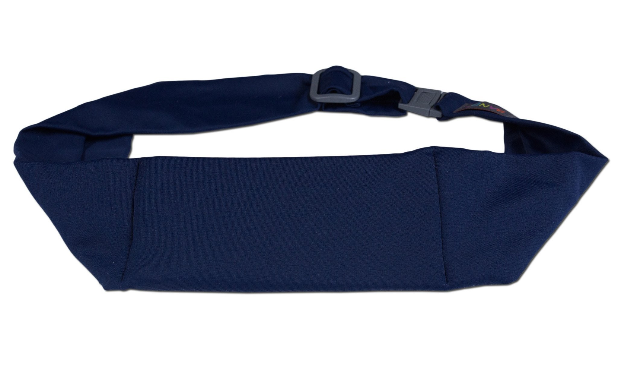 BANDI Unisex Secure Running Belt with Adjustable Straps and Clasp, Classic Size Pocket (Navy)