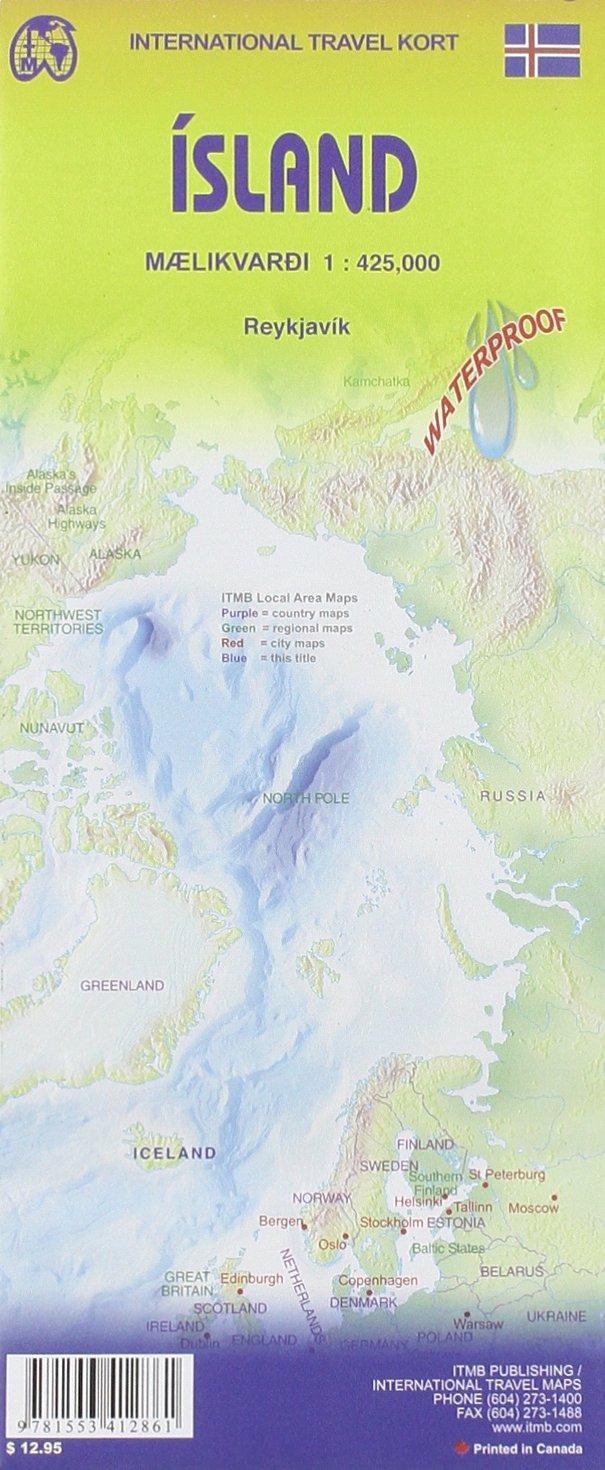 iceland travel reference map 1425 000 2013 international travel maps itmb canada 9781553412861 amazoncom books