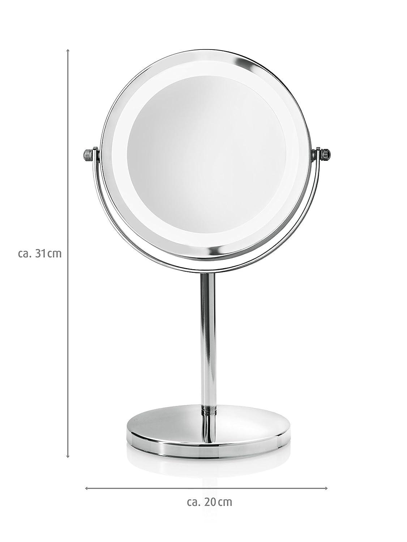 Medisana 88550 CM 840 Miroir de Maquillage Miroir de Voyage avec Lumi/ères LED Rotation /à 360/° et Fonctionnant sur Batterie 13 cm diam/ètre Grossissant 5X