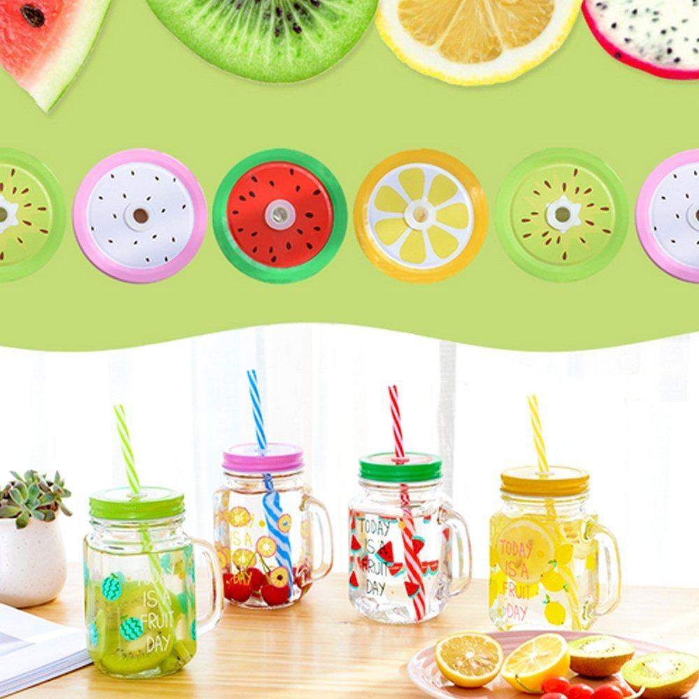 8 Decoration Lids Metal Decorative Regular Mouth Mason Jar Lids with Straw Hole 8 Striped Plastic Straw Set,2 Straw Wrench 18pcs