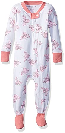 5022a8421 Burt s Bees Baby Baby Girls  Organic Print Zip Front Non-Slip Footed ...