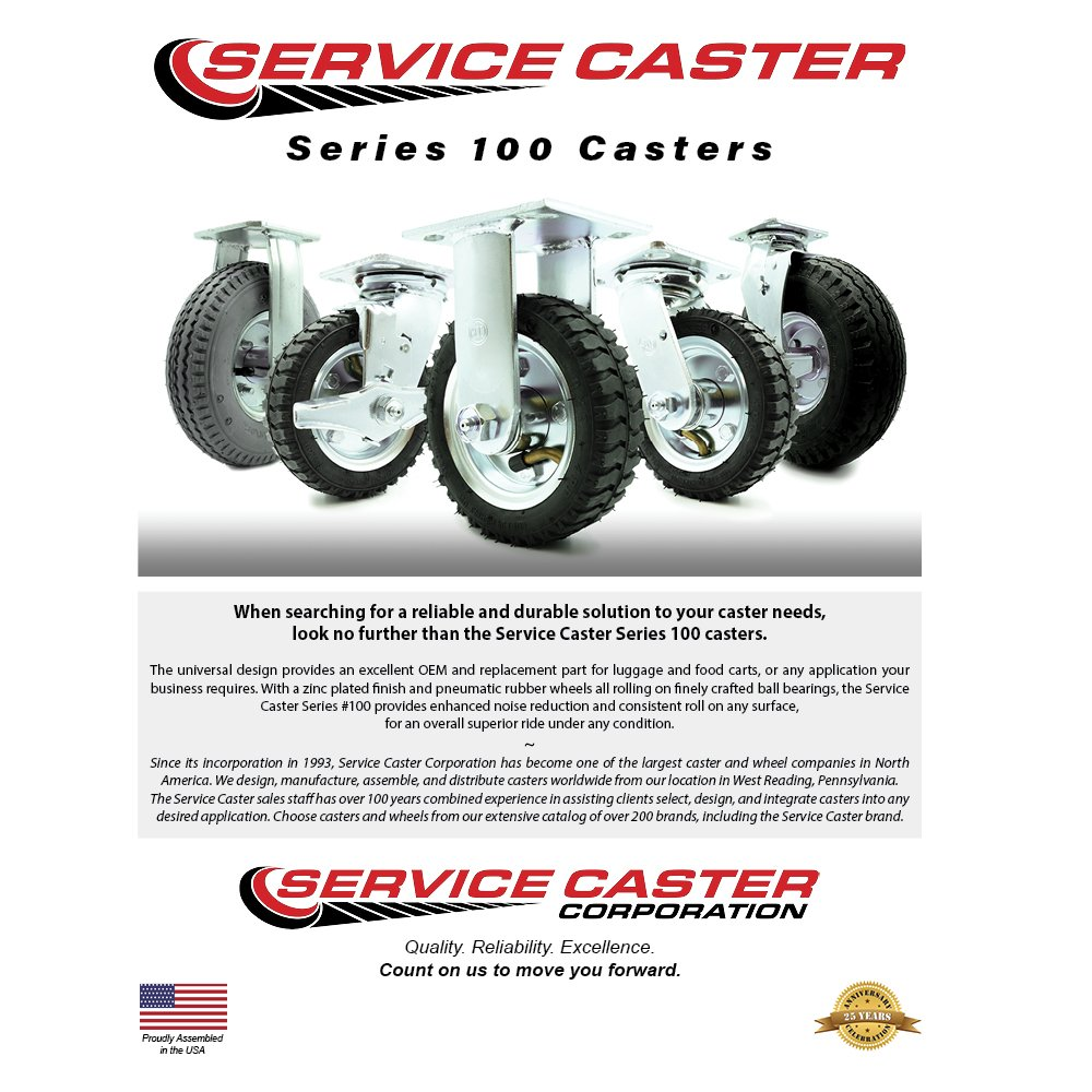 6'' Pneumatic Caster Set of 4-2 Swivel with Brakes/2 Swivel - Black Rubber Wheel - 1,000 lbs. Capacity - Service Caster Brand by Service Caster (Image #3)
