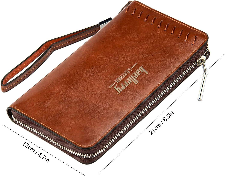 Grande Portefeuille homme sac /à main Style Vintage avec main bracelet carte 12 Slots 2 Cash Slots 1 Smartphone glissi/ère poche Young /& Ming