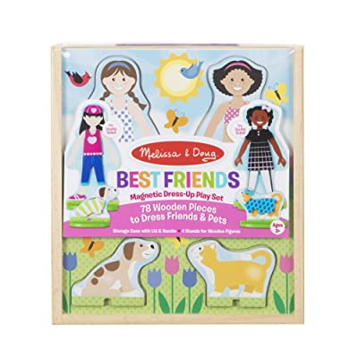 Melissa & Doug Best Friends Magnetic Dress-Up Wooden Dolls Pretend Play Set (78 pcs): Toy: Toys & Games