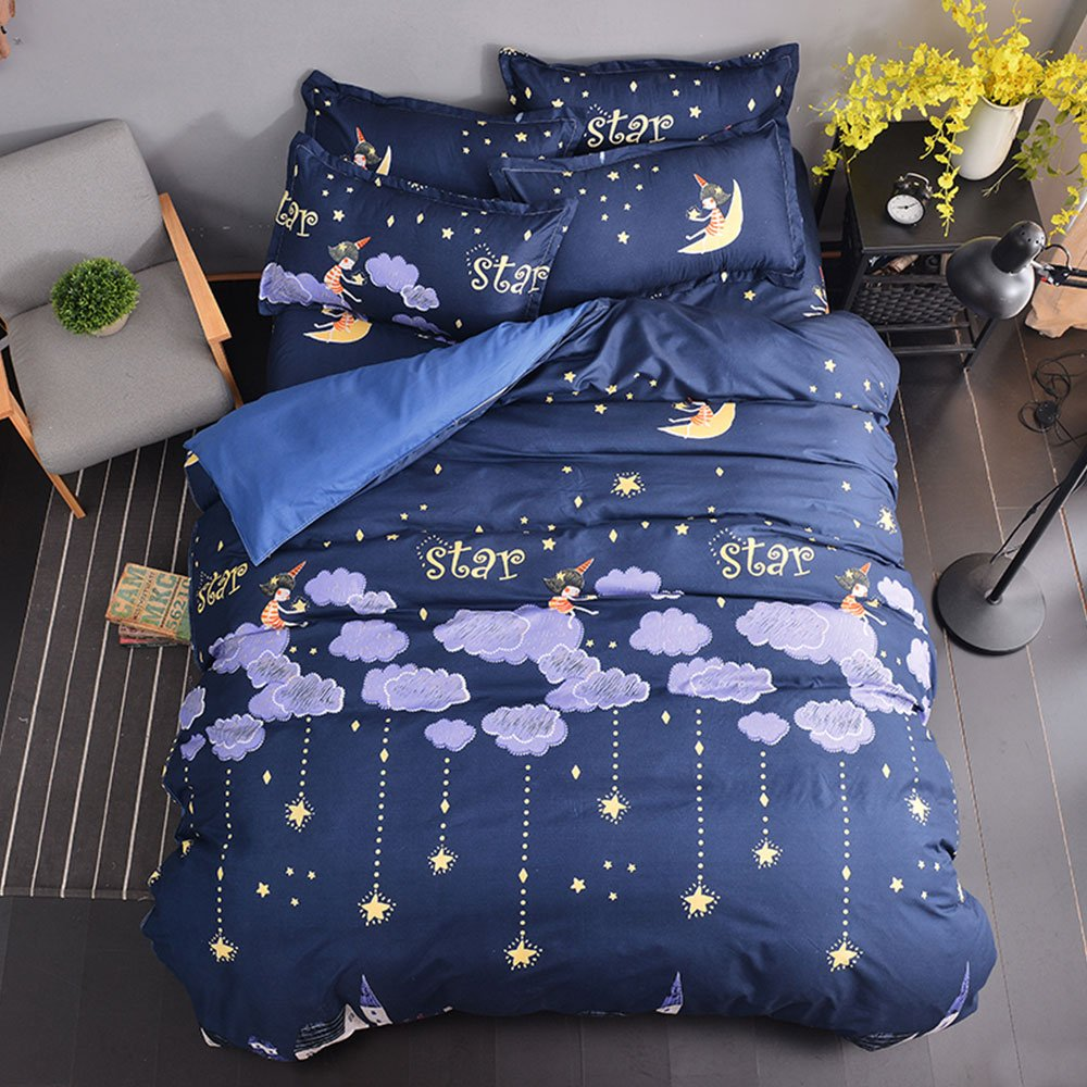 Full Duvet Cover Set with Zipper Closure Luxury Soft Microfiber 4 Piece£¨1 Duvet Cover + 1 Bed Sheets + 2 Pillow Shams) Star Night Clouds Moon and Little Girl Dark Blue - by Family Decor