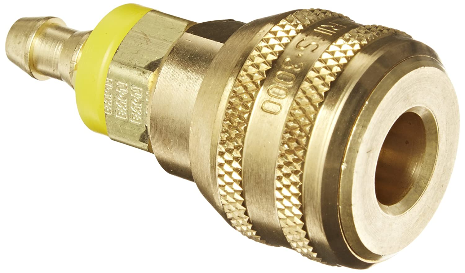 Socket 1//4 Hose ID Eaton Hansen 3600P Brass ISO-B Interchange Pin Lock Pneumatic Fitting with Push-On Style Hose 1//4 Body