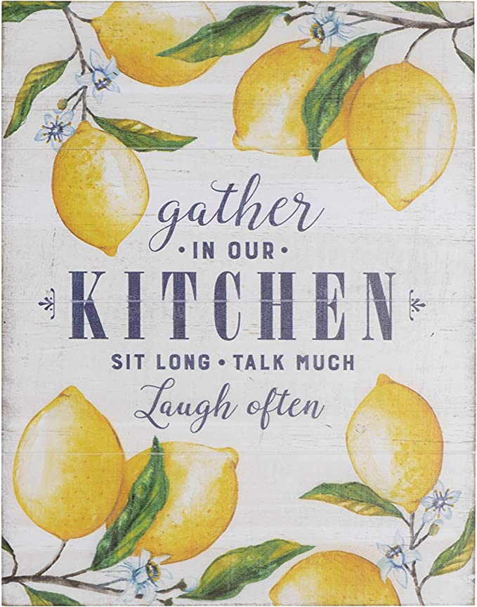 "Creative Co-Op ""Gather in Our Kitchen…"" Wood Wall Décor with Lemons"