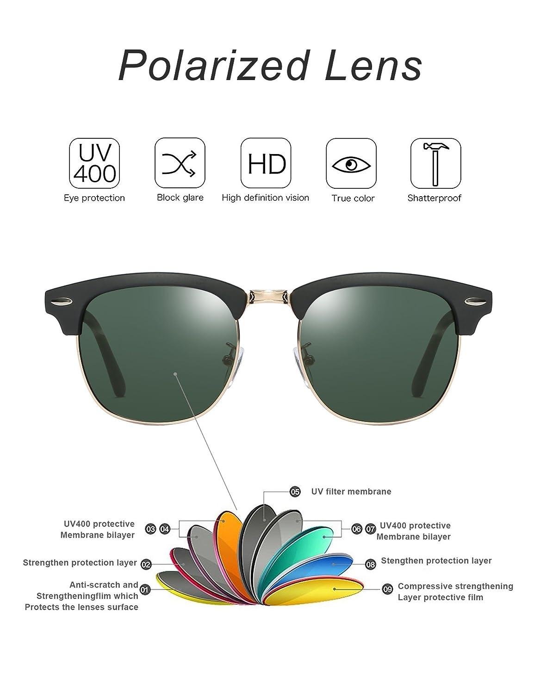 Rocf Rossini sonnenbrille polarisiert herren damen Retro Vintage klassisch Halber Rahmen M/änner Frauen Anti Reflexion UV400