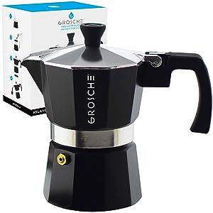 GROSCHE Milano Stovetop Espresso Maker Moka Pot 3 Cup - 5 oz, Black - Cuban Coffee Maker Stove top coffee maker Moka Italian espresso greca coffee maker brewer percolator