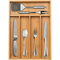 Secura Kitchen Drawer Organizer, Bamboo Utensil Holder Cutlery Makeup Jewelry Silverware Tray for Kitchen, Office…