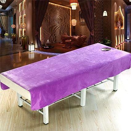 Sábana de masaje para cama de belleza, sábanas de salón de terciopelo coral con agujero