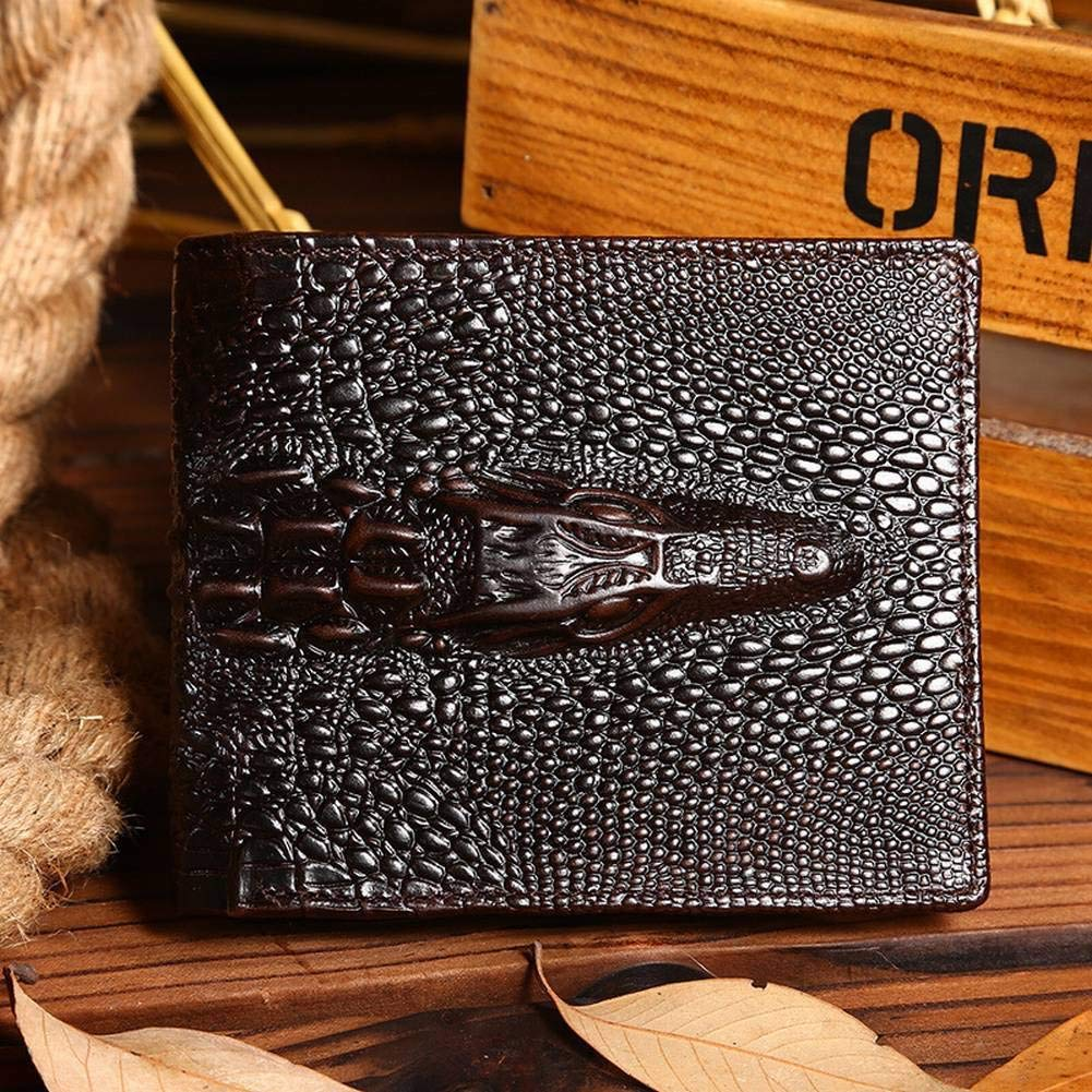 Creative Multifunctional Mens Wax Leather Long Wallet Crocodile Leather Casual Wallet for Men