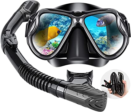 Durable Full Dry Underwater Swimming Diving Snorkel with Silicone Mouthpiece