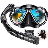 Dry Snorkel Mask Set Snorkeling Gear – Foldable Dry Snorkel Set with Dry-Wet Switchable Float Valve, Purge Valve Tube…
