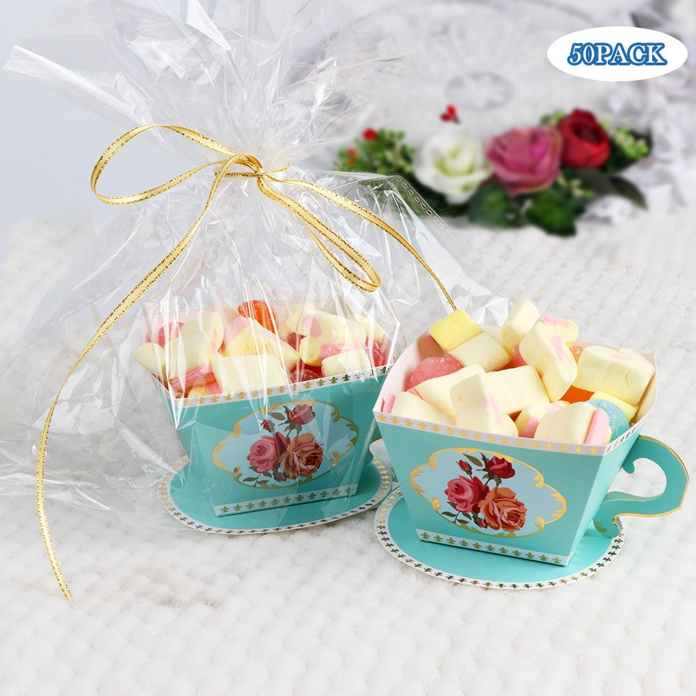 AerWo 50pcs Teacups Candy Boxes, Tea Party Birthday and Baby shower Favor Box, Cute Tea Candy Boxes for Tea Time Party and Wedding Decoration (Green) by AerWo