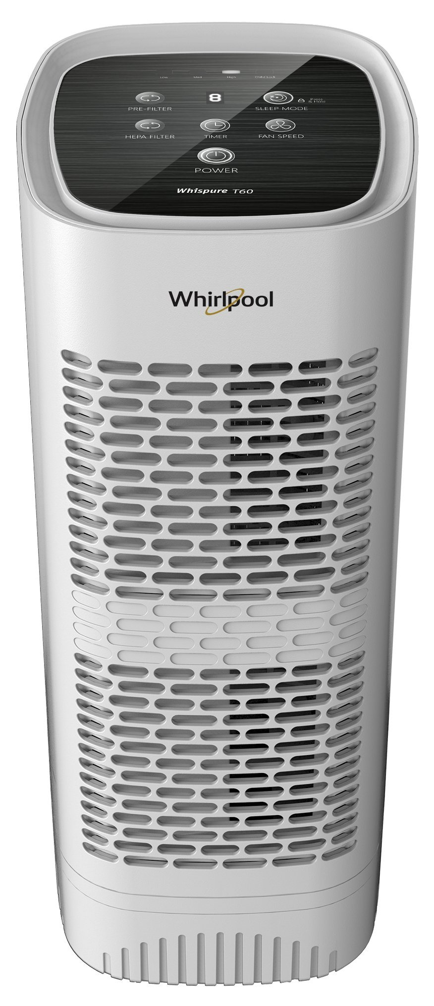 Whirlpool Whispure WPT60P, True HEPA Air Purifier, Activated Carbon, Advanced Anti-Bacteria, Ideal for Allergies, Odors, Pet Dander, Mold, Smoke, Smokers, and Germs, Medium, White