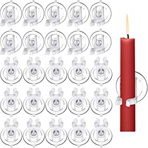 24 Pieces Christmas Window Candle Holder Clamps with Suction Cups for Christmas Thanksgiving Party Favors