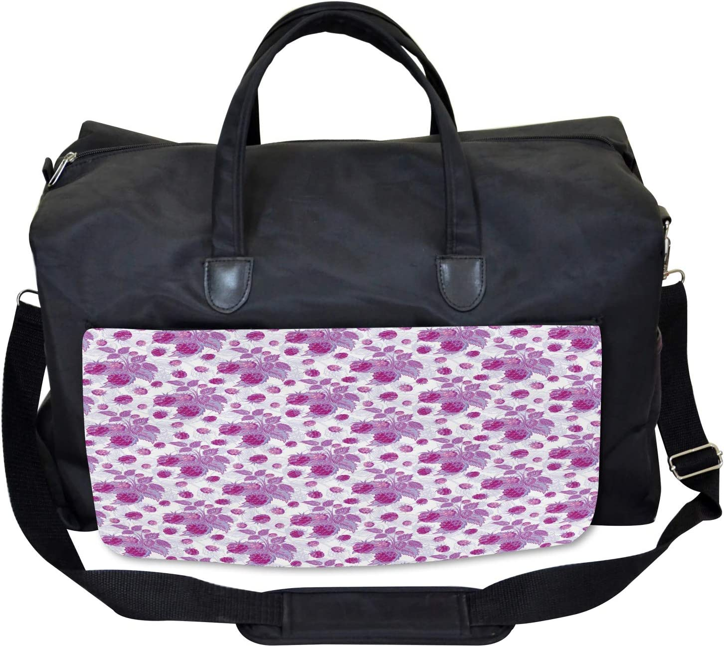 Vivid Rasberries Branch Large Weekender Carry-on Ambesonne Nature Gym Bag