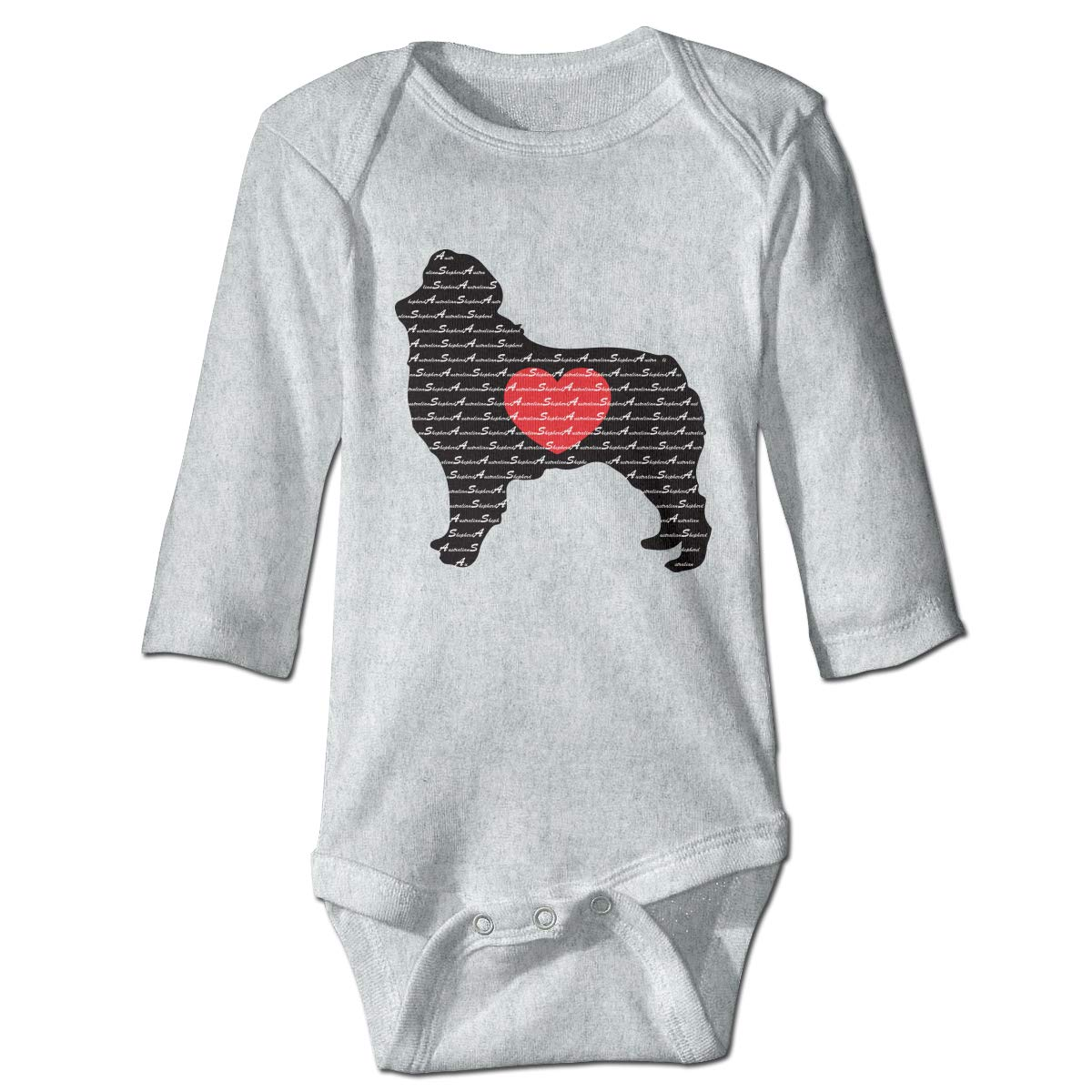 Infant Toddler Baby Australian Shepherd Silhouette with Heart Long Sleeve Infant Romper 0-24 Months