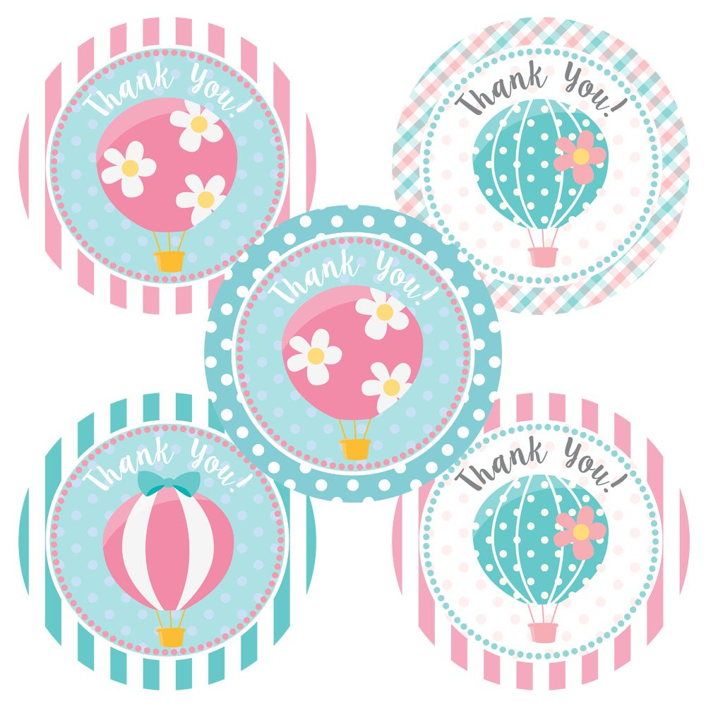 Hot Air Balloon Thank You Sticker Labels Set of 30 Birthday Baby Shower Party Favor Stickers