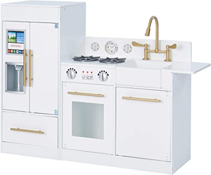 Amazon Com Teamson Kids Little Chef Chelsea Modern Play Kitchen Toddler Pretend 2 Pcs Play Set With Accessories And Ice Maker White Gold Toys Games