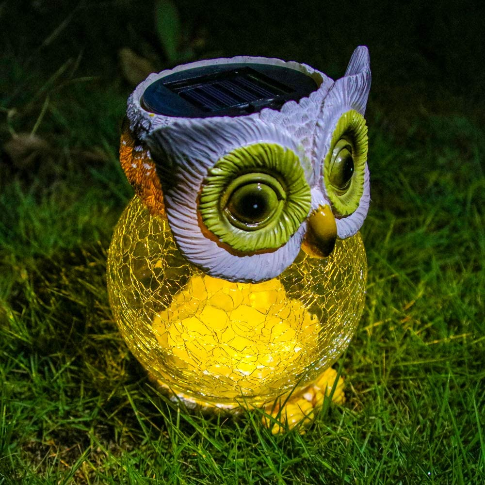 Trivol Garden Statue Owl Figurine Reinforced Resin-Glass Statue with Solar Powered LED Lights for Patio Yard Art Decor Lawn Ornaments Outdoor Decorations, 5.1 x 6.3 Inch - White
