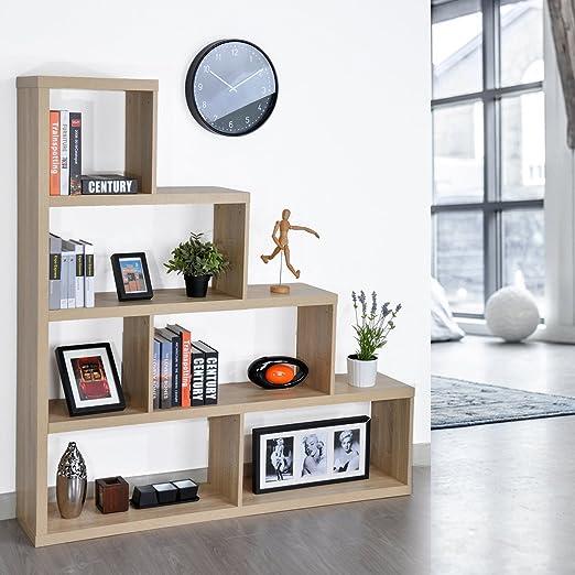 Estantería de madera para libros, almacenamiento de biblioteca, 4 estantes, diseño en escalera, mueble de oficina: Amazon.es: Hogar