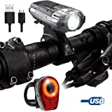 LifeBee Mountain Bike Light Set, USB Rechargeable Bicycle Headlight + Rear Light Waterproof, LED Cycle Safety Commuter Flashlight Sets for Road, Kids & City Bicycles, Mens & Off-road Cycling