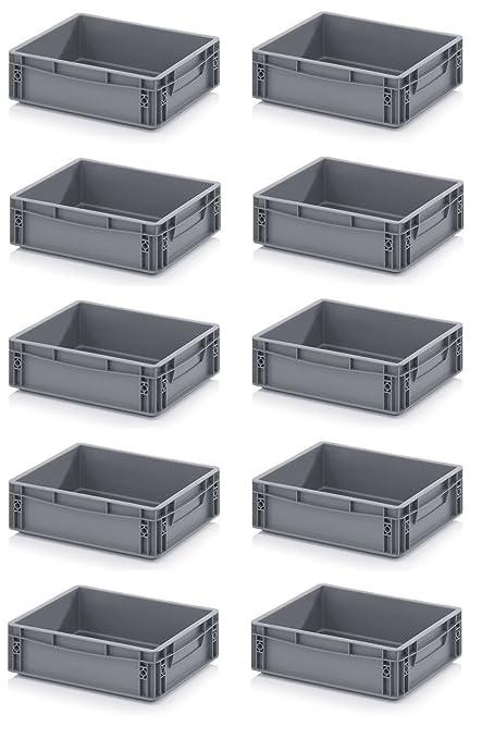 """10 x Euro de cajas Euro Box 40 x 30 x 12 gris Incluye ZOLLSTOCK """""""