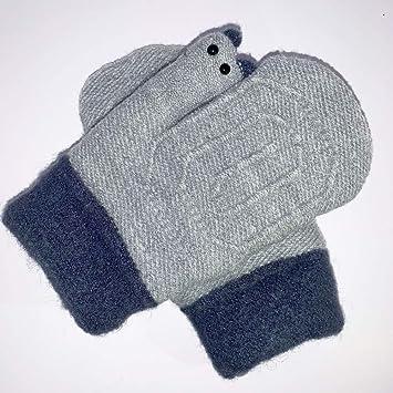 b552b69660d6 Eshall Gants d Hiver Enfant Thermiques Moufles Tricotés avec Peluche pour  Garçon et Fille Ski