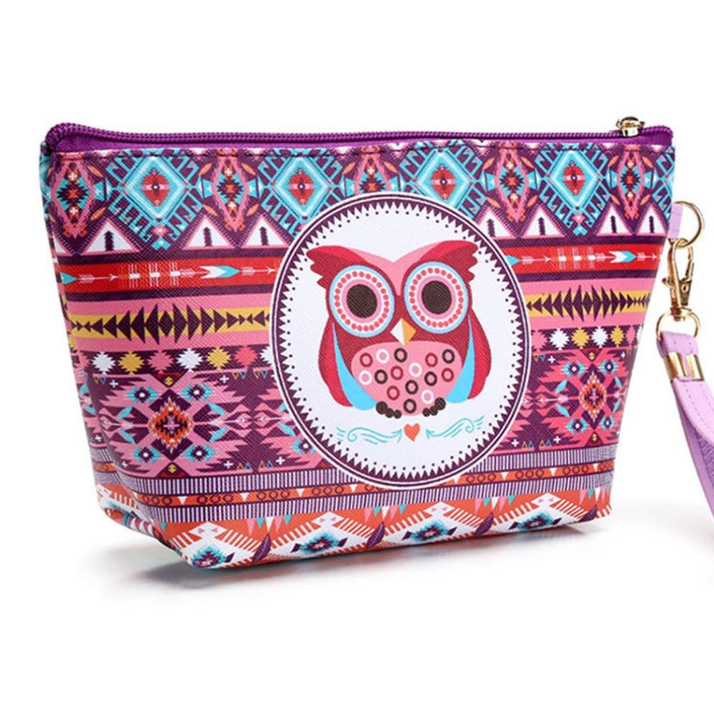 Amazon.com: callm Makeup Bag Cosmetic Storage Bag Owl National Style Makeup Organiser Container (A): Beauty