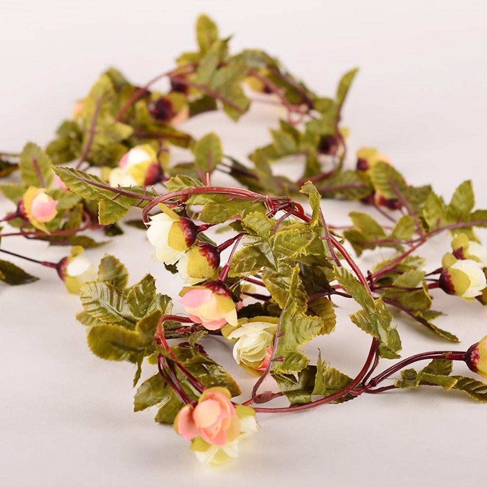 Amazon.com: Artificial Rose Garland Silk Flower Vine for Valentine ...