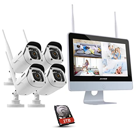 "ANNKE Kit de Seguridad WiFi 1080P 4CH NVR con Monitor 12"" LCD y 4 Cámaras"