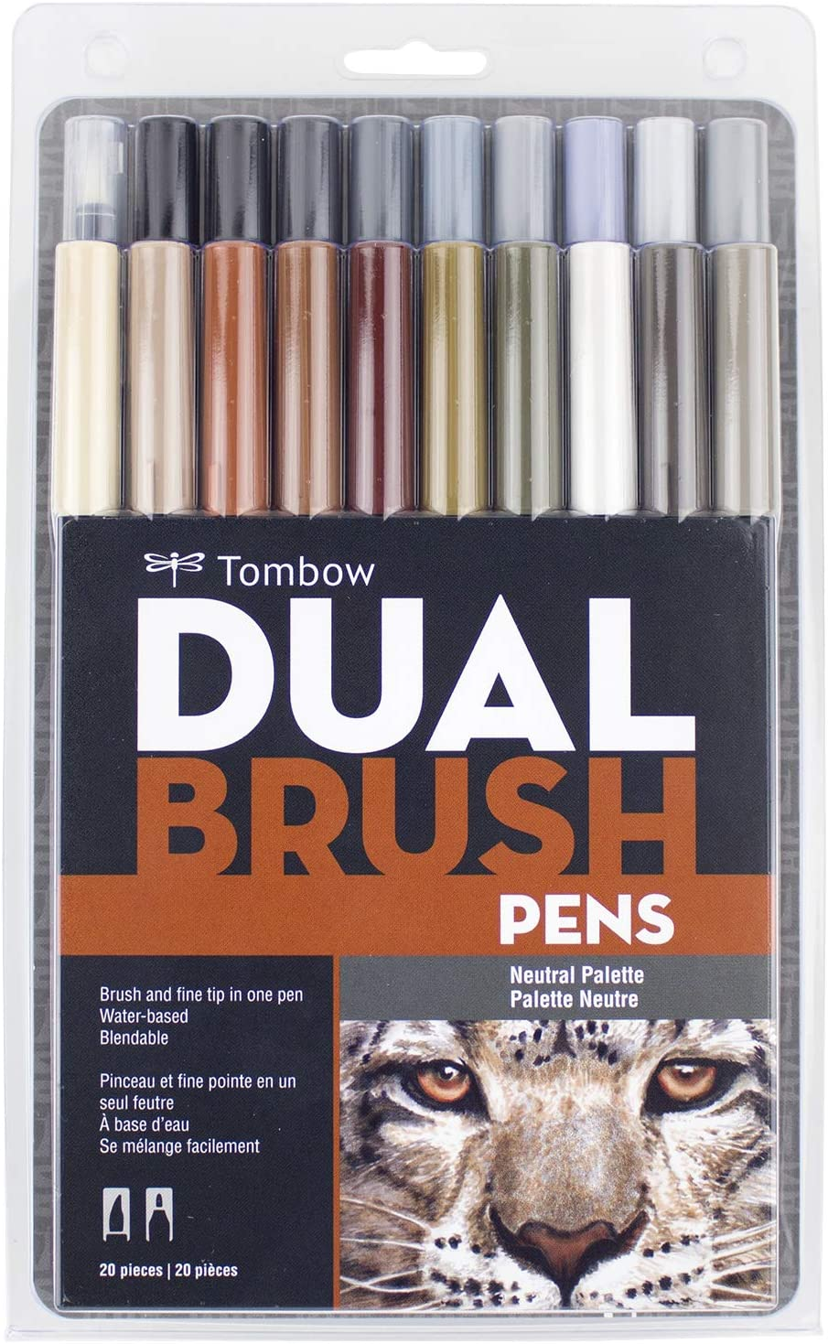 Tombow 56194 Dual Brush Pen Art Markers, Neutral Palette, 20-Pack. Blendable, Brush and Fine Tip Markers