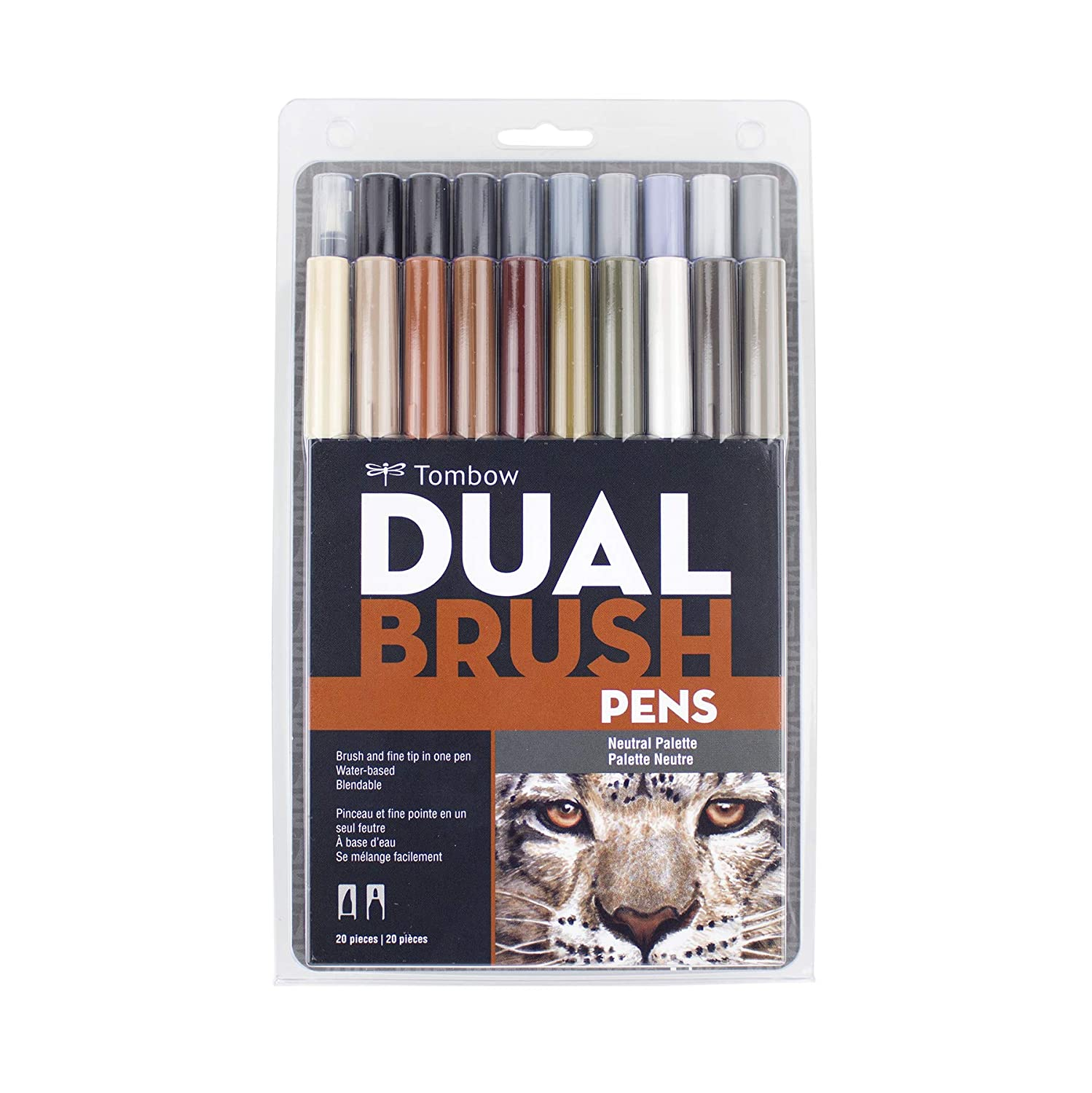 Tombow 56189 Dual Brush Pen Art Markers Tropical 10-Pack Blendable Brush and Fine Tip Markers