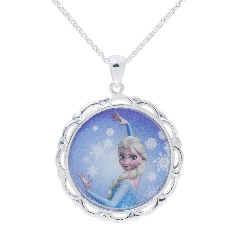Disney Frozen Elsa Silver Plated Brass Pendant 18''