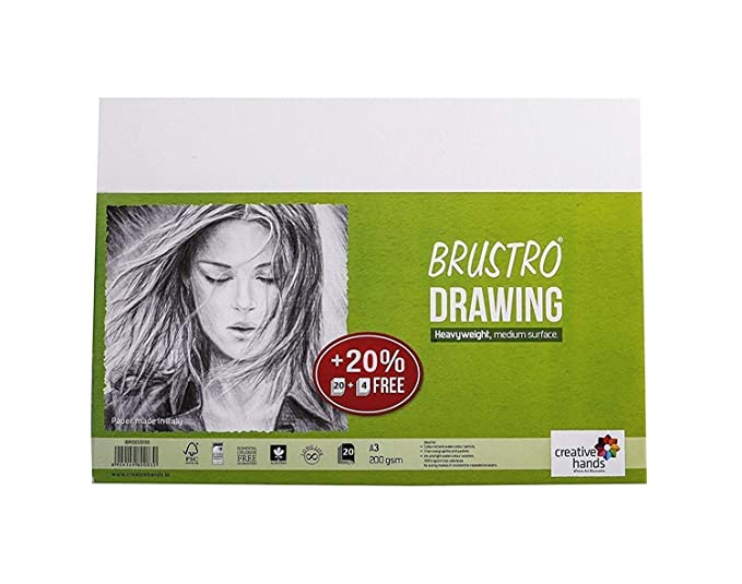 Brustro Drawing Papers 200 GSM A3, Pack of 20 + 4 Free Sheets Drawing Paper