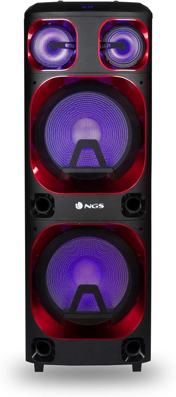 """NGS Wild Ska 2- Altavoz portátil de 800W Compatible con Tecnología Bluetooth y True Wireless. Doble Subwoofer 12"""" (Micro SD/USB/AUX IN/). Color Negro"""