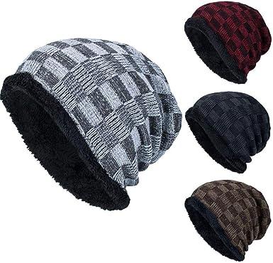 Hombres Boina Tejida Crochet Invierno Beanie Beret Cap Cálido ...