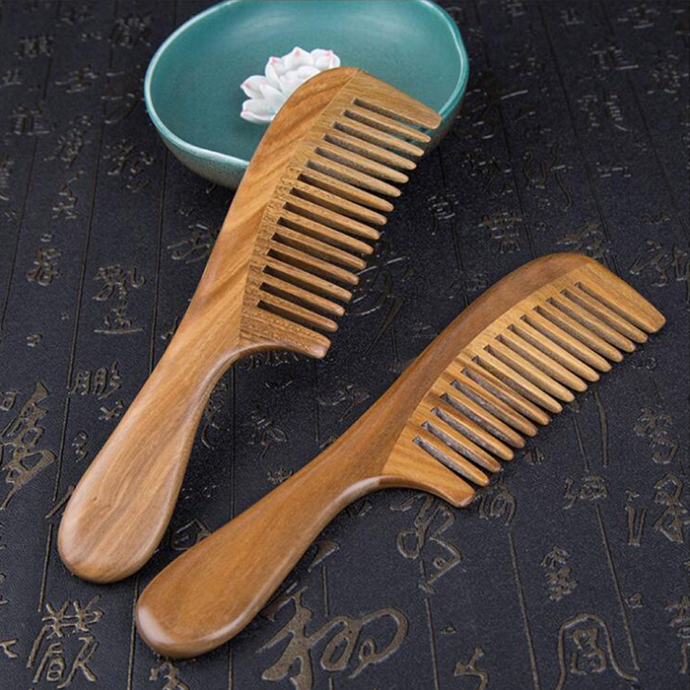 Pevor Green Sandalwood Hair Comb Anti-Static Wide-Tooth with Smooth Handle Natural Hand Made Scalp Massager Hair Care Tools Houseware Great Gift for Lady