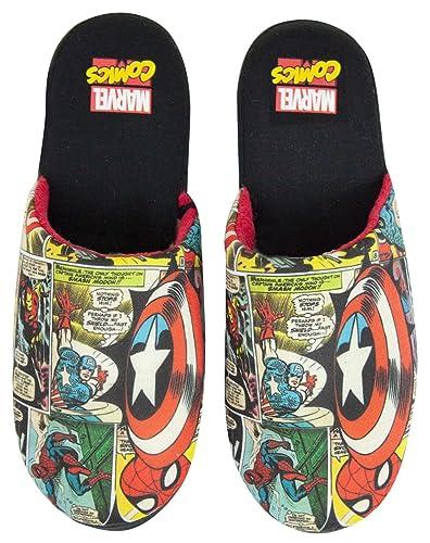 6d9acd144bae Marvel Avengers Comic Men s Slippers Black  Amazon.co.uk  Shoes   Bags