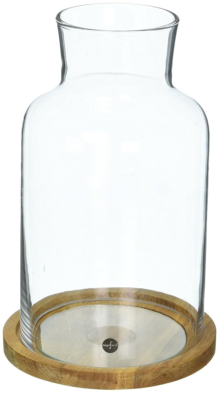 Sagaform Candleholder/Lantern Hurricane Candle Holder with Glass and Oak Base, 5 X 8 1/2, Medium, Clear/Brown 5 X 8 1/2 5017191