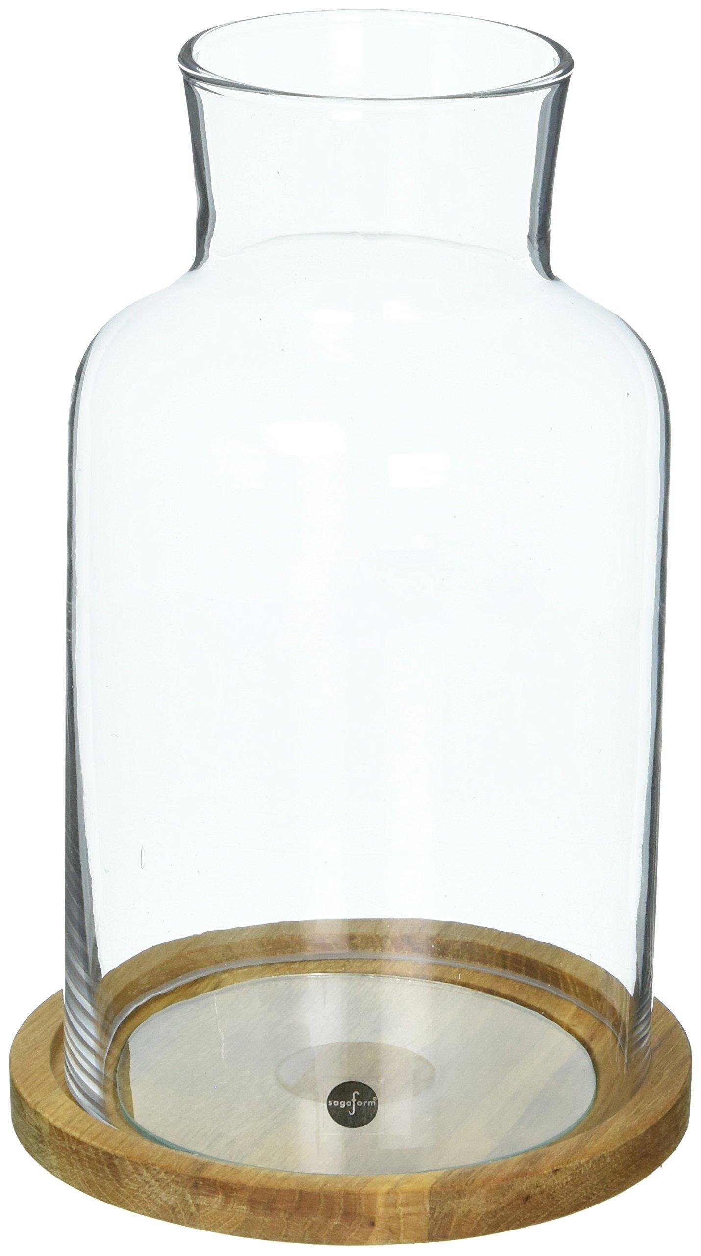 Sagaform Candleholder/Lantern Hurricane Candle Holder with Glass and Oak Base, 5'' X 8 1/2'', Medium, Clear/Brown