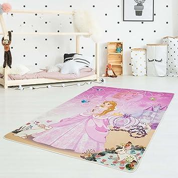 Kinderteppich grün rosa  Kinder-Teppich Druckteppich Flachflor Polyester Waschbar ...