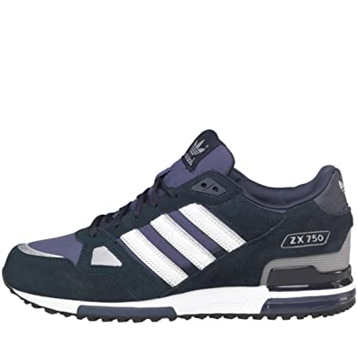 info for 41501 d45fb Mens Navy Blue White Adidas Originals ZX 750 Stripe Suede Trainers   Amazon.co.uk  Shoes   Bags