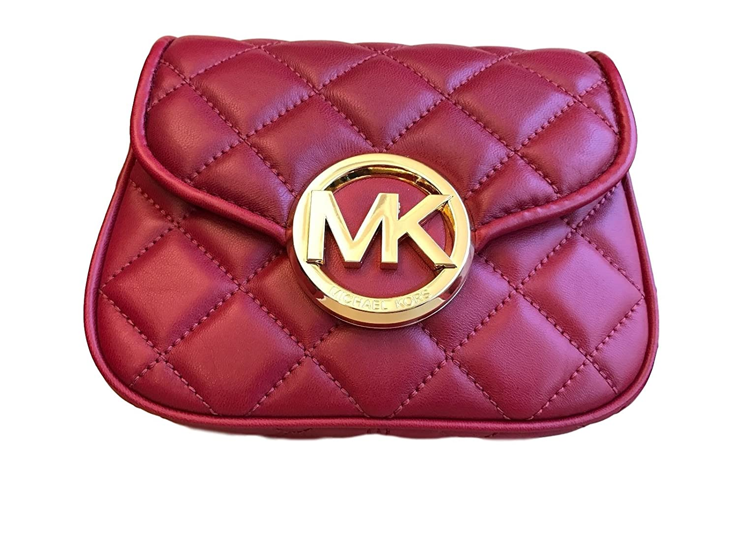 4b090e2651f5 MICHAEL KORS FULTON QUILT SMALL FLAP CROSSBODY BAG IN CHERRY  Handbags   Amazon.com