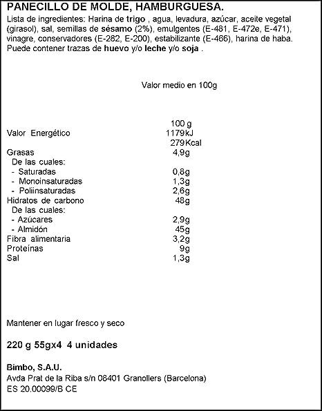 Bimbo Panecillo para Burgers - 4 unidades - 220 g: Amazon.es ...