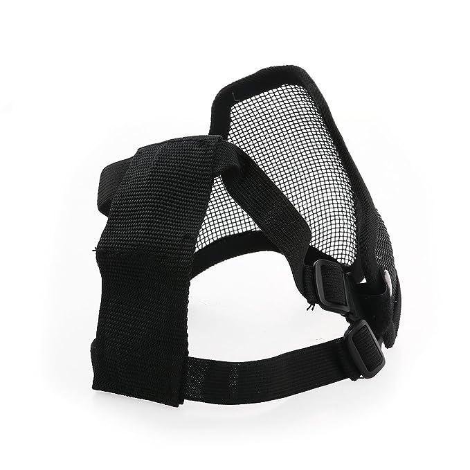 Tinksky CM01 al aire libre deportes táctico caza malla de Metal media cara máscara máscara de protección ajustable elástica diadema (negro): Amazon.es: ...