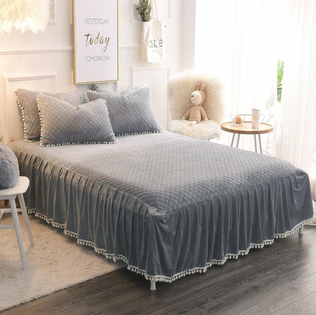 LIFEREVO Luxury Velvet Mink Diamond Quilted Fitted Bed Sheet 3 Side Coverage 18 inch Drop Dust Ruffle Bed Skirt with Pompoms Fringe (Queen Gray)